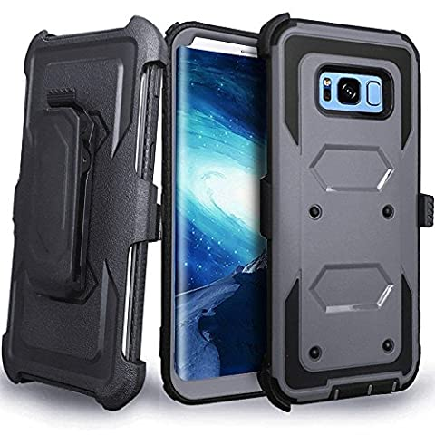 CellularOutfitter Samsung Galaxy S8 Plus Triple Protection Rugged and Holster Shell Combo Phone Case - Heavy Duty, Shock-Resistant - Gray/Black