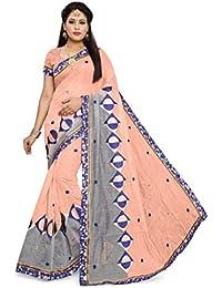 Indian Fashionista Women's Embroidered Chanderi Cotton Silk Saree (PRJINAL11030360_FREESIZE_PINK)