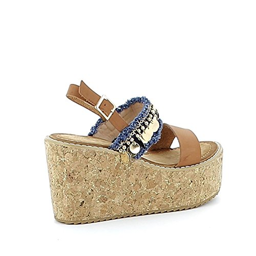 Sandale compensée bohémienne Camel