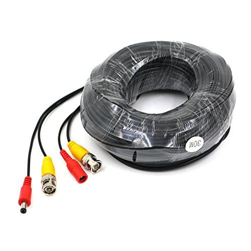 OPO BNC Video und DC Power Verlängerungskabel/BLEI mit Stecker für Überwachungskamera/CCTV Sicherheit Kamera Anschluss 30m -