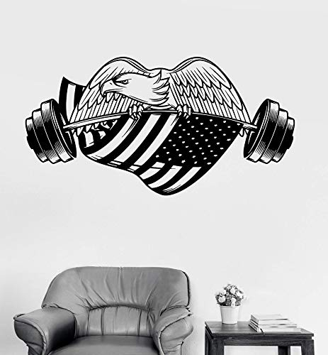 an Eagle Amerikanische Flagge Vinyl Wandaufkleber Bodybuilding Fitness Universität Dormi Wohnkultur Kunst Aufkleber 82x42 cm ()