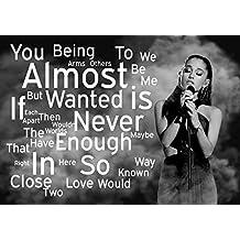 Ariana Grande–alomost nunca es suficiente 7–Pop Star Superstar Singer Sexy Lady mejor foto de color de imagen única Impresión A4Póster Laminado