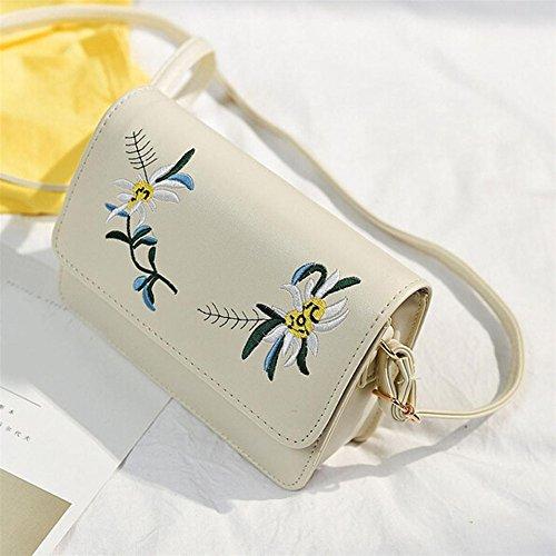 Longra Donna Sacchetto trasversale obliquo della singola spalla del ribattino del ricamo del fiore di modo Beige