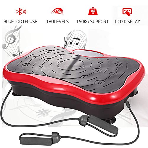 Profi Vibrationsplatte Ganzkörper Trainingsgerät Fitness Vibration Plate rutschfest große Fläche mit Bluetooth USB Lautsprecher/LCD Display & Fernbedienung/Trainingsbändern(Rot 1)