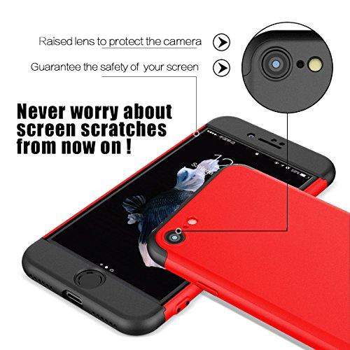 iPhone 6 6s Hülle,Wouier® 3 in 1 Ultra Dünner PC Harte Case 360 Grad Ganzkörper Schützend Anti-Kratzer Schutzhülle für Apple IPhone 6 plus/6s plus (iPhone 6 plus/ 6s plus, schwarz+blau) Rote+schwarz