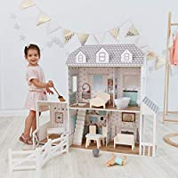 """Teamson Kids TD-12901A Farmhouse Wooden Doll House with Horse Stable, 14 pcs Doll Accessories & Doll Furniture for 12"""" Dolls, White Grey"""