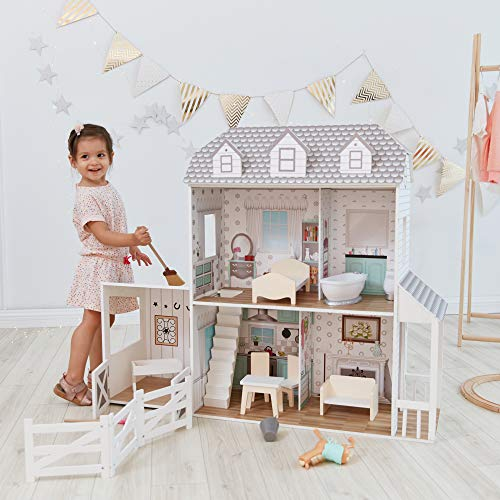 Teamson Kids TD-12901A Farmhouse Wooden Doll House with Horse Stable, 14 pcs Doll Accessories & Doll Furniture for 12