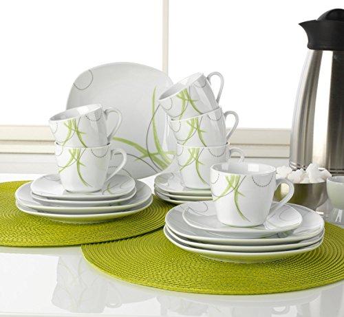 Kaffee-Service Kaffeegeschirr Geschirrset MALIS | 18-tlg. (6 Personen) | Weiß-Grün | Porzellan