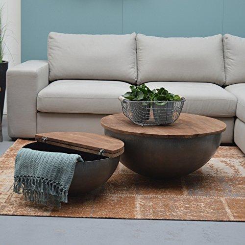 e tisch mango ESTO GmbH Couchtisch Bowl Suzan Ø 60 cm Metall Mango Massiv Beistelltisch Sofatisch Tisch