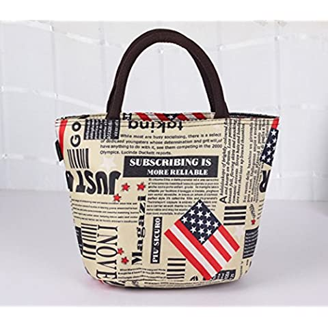 Lady Lucy Waterproof Picnic Lunch Bag, Newspaper