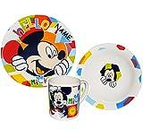 Unbekannt 3 TLG. Geschirrset -  Mickey Mouse und Goofy  incl. Namen - Porzellan Trinkbecher + Teller + Müslischale - Kindergeschirr Frühstücksset Keramik für Kinder J..