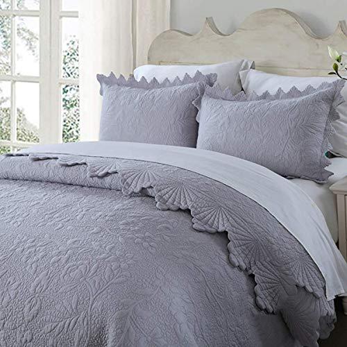 Wdxn copriletto trapuntato in cotone di alta qualità con stampa ricamo include 2 copricuscini. 240 x 260 cm adatto a letto matrimoniale e king size,blue,240 * 260cm