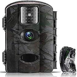 Fantasky Caméra de Chasse 16MP 1080P HD Étanche, Appareil Photo de Surveillance Grand Angle IR LED Vision Nocturne Infrarouge Jusqu'à 65ft, pour la Chasse et la sécurité à la Maison