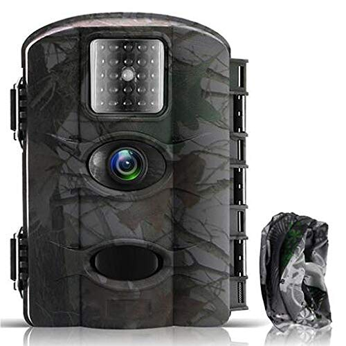 Cámara de Caza Vigilancia 16MP y 1080P Trail Cámara Impermeable IP65 con Infrarrojos PIR Sensor de Movimiento con Lapso de Tiempo 65ft Visión Nocturna hasta de Fauna con Protección de Salpicaduras