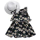 Livoral Mädchen ärmellose Blume Prinzessin Kleid Kind Baby Kind Bogen Hut Kostüm(Marine,80)