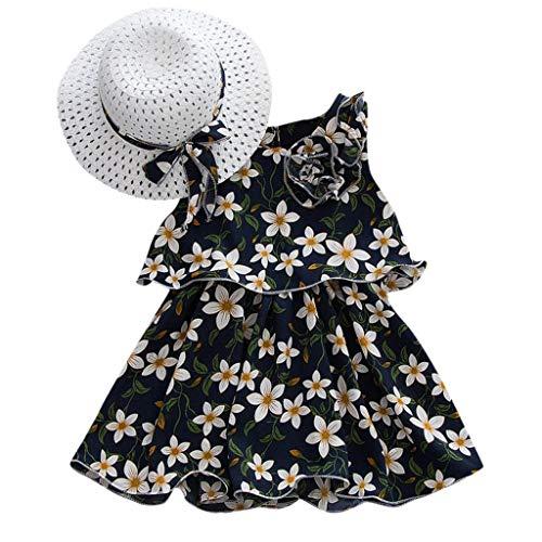Kelry Kleinkind Kinder Mädchen Ärmellos Blumen Prinzessin Kleider Bogen Hut Outfits(Marine,80/6)