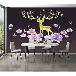 Cowallpaper Fond D'Écran 3D Papier Peint Mural Minimaliste Avec Fleurs De Wapiti, Animaux Nordiques Affiche Photo Paysage Soie Senior Salon Chambre Cuisine-D-300Cmx210Cm