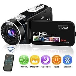 Caméscope Caméra Vidéo Full HD Appareil Photo Numérique 1080P 24.0MP Fonction de Pause avec Caméra de Vision Nocturne de Nuit avec Télécommande