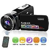 Camcorder Videokamera Full HD Digitalkamera 1080P 24.0MP Vlogging Kamera Nachtsicht-Pausenfunktion mit Fernbedienung