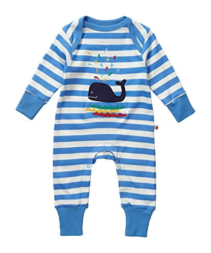 Piccalilly Organic Cotton Blue and White Baby Boys Stripey Whale Applique Playsuit