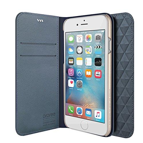 iPhone 6S Schutzhülle, araree® [Diamant Cube] Premium Echt Leder Diamant Pattern Wallet Case Flip Cover Mit ID Halter für Apple (2015) blau