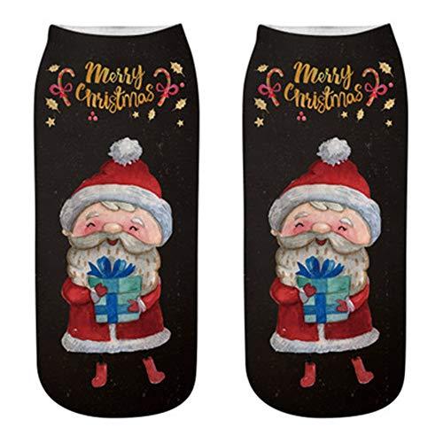 OverDose Damen Happy Christmas Bequeme Baumwolle Socke Hausschuhe Short Print Party Home Schlafen Geschenk Söckchen Manschetten Trekkingsocke