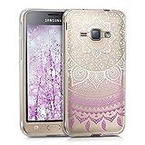 kwmobile Funda para Samsung Galaxy J1 (2016) - Carcasa de [TPU] para móvil y diseño de Sol hindú en [Violeta/Blanco/Transparente]