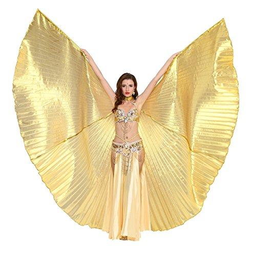 Gold Wings Kostüm - Dance Fairy Bauchtanz Isis Flügel,Einschließlich Stöcke,Gold