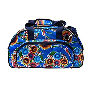 IKURI Weekender - Wasserdichte Tasche Für Frauen Sporttasche Schwimmtasche Umhängetasche für Fitness, Sauna und Wellness Kliniktasche Reisetasche aus Wachstuch Retrolook - Design Dulce Flor blau