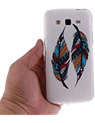 BONROY ® Coque pour Samsung Galaxy Grand 2 SM-G7105/G7106,Housse en cuir pour Samsung Galaxy Grand 2 SM-G7105/G7106,imprimé étui en cuir PU Cuir Flip Magnétique Portefeuille Etui Housse de Protection Coque Étui Case Cover avec Stand Support Avec des Cartes de Crédit Slot et Fonction Support pour Samsung Galaxy Grand 2 SM-G7105/G7106