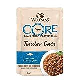 Wellness CORE Katze Tender Cuts Getreidefreies Nassfutter Thunfisch in Soße, 24 x 85 g Pouches