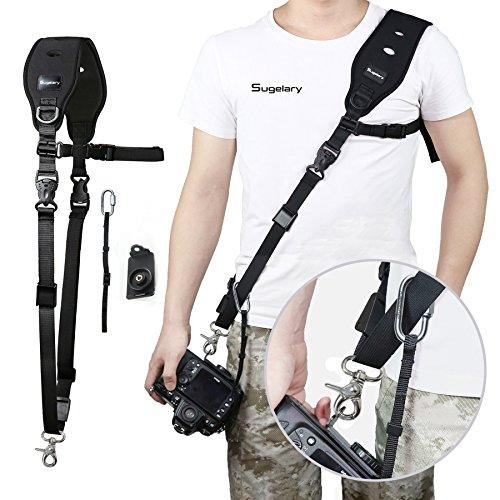 dslr tragegurt Sugelary Kameragurt Schnellverschluss Neopren Schwarz Kamera Tragegurt Schultergurt Gurt für Canon Nikon Sony Fujifilm Olympus DSLR SLR (F-2)