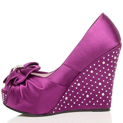 Damen Hochzeit Strass Schleife Hochkeilabsatz Sandalen Peep Toe Schuhe  Größe Violett