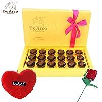 De'Arco Chocolatier Valentine chocolate for wife, Valentines Day Chocolates, Valentines Day Gift Hamper, Premium Valentine Chocolate, 200g + FREE - Furr Heart and Rose