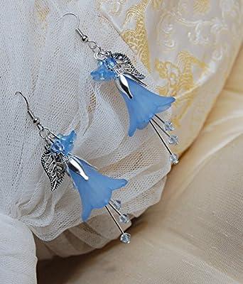 Boucles d'oreilles clochesbleus elfiques/bijoux fleur bleu avec petits cristaux Swarovski Elements/jacinthe du bois/féerique/romantique/mignon/bijoux printemps/fleurs bleus/elfe /