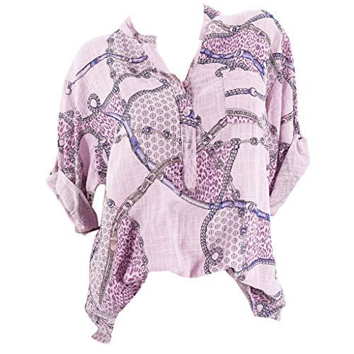 LOLIANNI Damenmode Vintage Kette gedruckt Bluse Damen V-Ausschnitt Plus Größe Fünf-Ärmel-Top-T-Shirt -