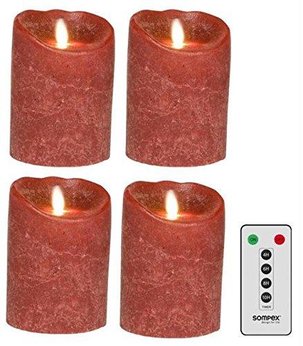 Juego de 4SOMPEX 12,5cm burdeos Frost velas LED de cera con mando a distancia, 35240, corona de Adviento de Juego