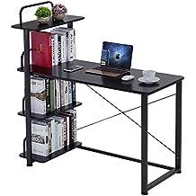 Keinode Mesa de Estudio computadora con Patas de Metal y 4 estantes externos, para Ordenador