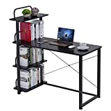 Keinode Computer-Schreibtisch mit Metallrahmen Beine Holz Arbeitstisch mit externen 4 Ablagen Große PC Laptop Gaming Schreibtisch Computer Arbeitsstation für Home Office (schwarz)
