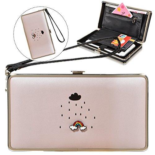 Le donne Cute bowknot borsa solida borsa Portafoglio Wearable, Sunroyal Multifunzionale [Grande capacità] Smartphone Wristlet Custodia Case Cover per Huawei Mate 9 / P10 / P10 Lite / P10 Plus / P9 / P Modello 35