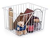 SANNO Organizador de los compartimientos de la cesta del almacenaje del alambre de la casa con las manijas para la cocina, despensa, congelador, gabinete - blanco de la perla