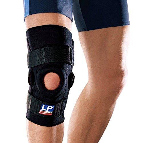 LP Support Knie-Orthese - Knieschiene 710 mit Gelenkschienen - Knie-Stütze - Größe: XS - XXXL, Größe:3XL, Farbe:schwarz