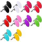 tumundo Set von 2 od 10 Stk/1 Stk Ohr-Clips Ohrklemme Ohr-Stecker Ohrringe Fake-Plug Button Rund Acryl Damen Kinder, Farbe:Alle Farben