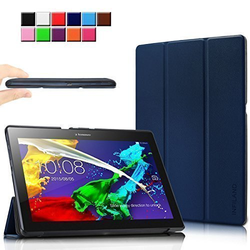 Infiland Lenovo Tab 2 A10-70 / Tab 2 A10-70L / Tab 2 A10-70F / Tab 2 A10-30F / Tab 2 A10-30L / Tab 3 10 Business/ Tab3 10 Plus Hülle Case, Ultra Dünn Tri-Fold Smart-Muschel PU Leder Schutzhülle für Lenovo Tab 2 A10-70 / Tab 2 A10-30 / Tab 3 10 Business/ Tab3 10 Plus 10,1 Zoll Tablet (mit Auto Schlaf / Wach Funktion)(Dunkleblau)