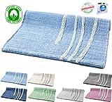 Teppich aus Baumwolle, waschbar, Wellendesign, für Badezimmer / Küche, rutschfest, 50x 80cm oder 60x 120cm. Chenille verschiedene Farben Maschinenwaschbar 30° 50 x 80 cm Hellblau