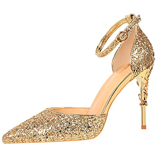 Oasap Women's Sequins Ankle Strap Pointed Toe Stiletto Heels Club Pumps Gold