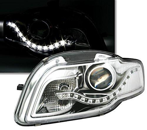 Scheinwerfer Set in Klarglas Chrom, mit LED Tagfahrlicht Optik