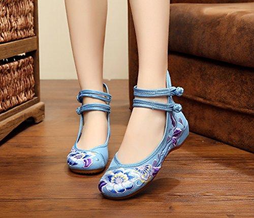 &hua Soft bas chaussures brodées, semelle de tendon, style ethnique, femaleshoes, mode, confortable, casual chaussures de toile Light Blue