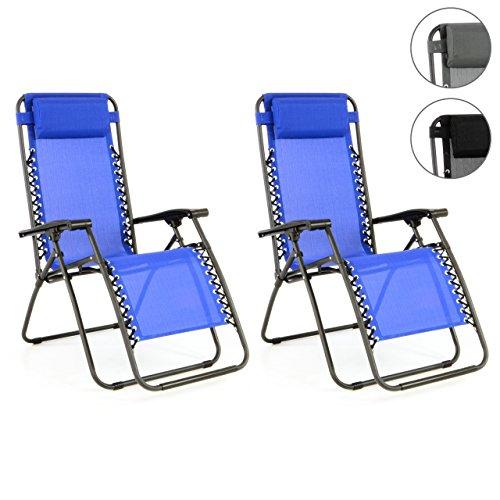 2er Set Liegestuhl klappbar verstellbar 162 x 65 112 cm Stahl Textilene Armlehne Kopfpolster Gartenstuhl wetterfest bis ca. 120 kg Relaxstuhl Sonnenliege Klappstuhl Farbe wählbar Grau Schwarz Blau