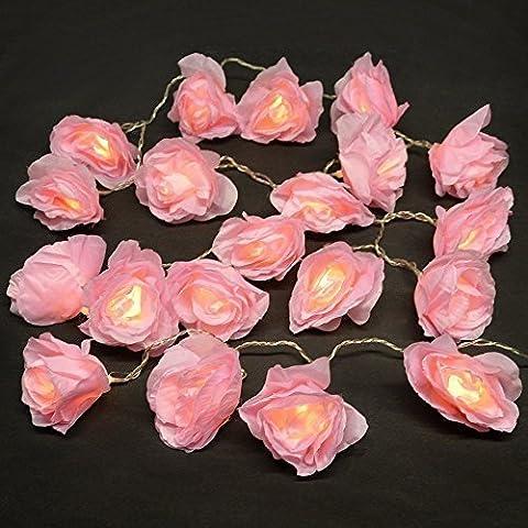 MiniSun - Beautiful Battery Operated 20 LED Pink Rose Flower
